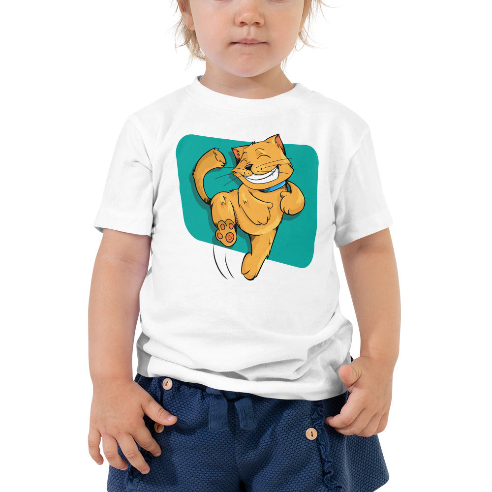 Leaping Happy Cat Toddler Short Sleeve Tee, Toddler T-shirt - PureDesignTees