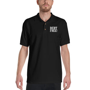 Debt Free! Embroidered Polo Shirt-Polo-PureDesignTees