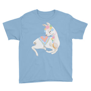 Adorable Decorated Llama Youth Short Sleeve T-Shirt,  - PureDesignTees
