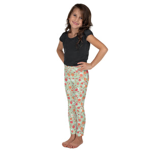 Green Floral Kid's Leggings-Leggings-PureDesignTees