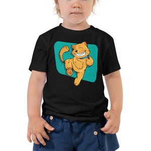 Leaping Happy Cat Toddler Short Sleeve Tee-Toddler T-shirt-PureDesignTees