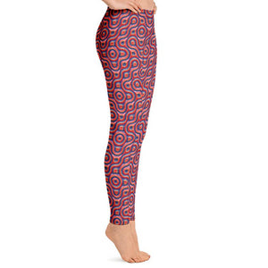 Red and Blue Abstract All-Over Print Leggings-leggings-PureDesignTees