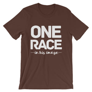 One Race in His image Unisex short sleeve t-shirt-PureDesignTees