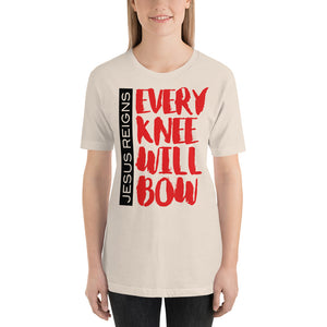 Jesus Reigns Every Knee will Bow Short-Sleeve Unisex T-Shirt-t-shirt-PureDesignTees