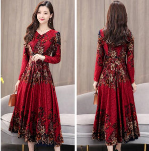 Fashion V Collar Flower Printed Long Sleeve Dress-dress-PureDesignTees