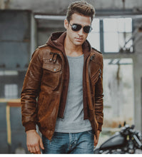 Load image into Gallery viewer, Men's Real Leather Motorcycle Jacket with Removable Hood-Men's Leather Jacket-PureDesignTees