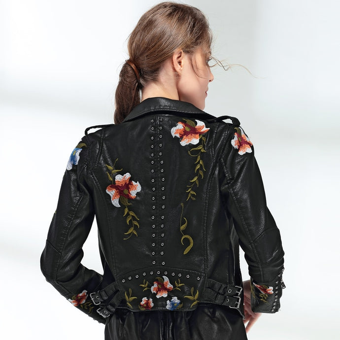 Floral Embroidery Faux Soft Leather Jacket-women's jacket-PureDesignTees