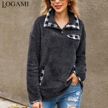 Load image into Gallery viewer, Plaid Patchwork Women's Turn-down Collar Sweatshirt-Sweatshirt-PureDesignTees
