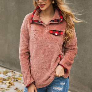 Plaid Patchwork Women's Turn-down Collar Sweatshirt-Sweatshirt-PureDesignTees