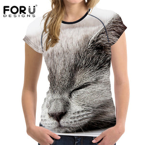 Adorable 3D Cat Print Women's Short Sleeved Breathable Tshirt-t-shirt-PureDesignTees