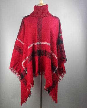 Fashion Women's Winter Warm Wool Plaid Knitting Poncho 7 Color To Choose From