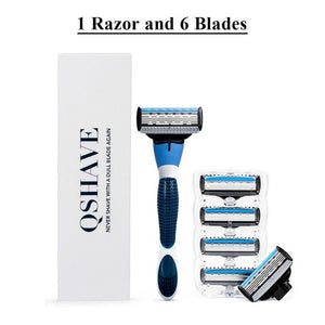 Premium QShave Brand Blue Men's Shaving Razor and Cartridges-razor-PureDesignTees