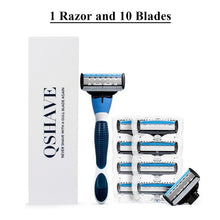 Load image into Gallery viewer, Premium QShave Brand Blue Men's Shaving Razor and Cartridges-razor-PureDesignTees