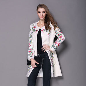 Autumn Winter Vintage Embroidery Cashmere Trench Black/White Wool Blend Overcoat-Coat-PureDesignTees