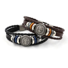 Load image into Gallery viewer, Handmade Retro Leather Woven Charm Bracelet for Men-Bracelet-PureDesignTees