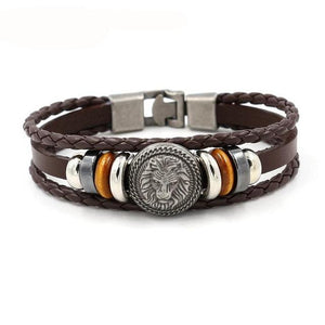 Handmade Retro Leather Woven Charm Bracelet for Men, Bracelet - PureDesignTees