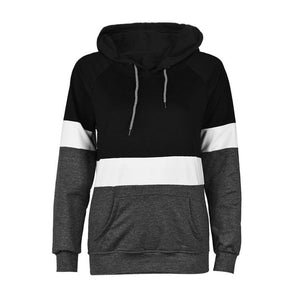 100% Cotton Women's Long Sleeve Patchwork Hoodie-hoodie-PureDesignTees