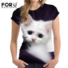 Load image into Gallery viewer, Adorable 3D Cat Print Women's Short Sleeved Breathable Tshirt - PureDesignTees