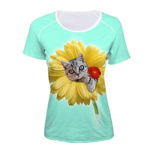 Adorable 3D Cat Print Women's Short Sleeved Breathable Tshirt - PureDesignTees