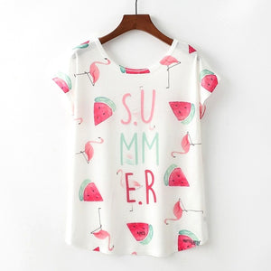 Summer Adorable Novelty Printed Short Sleeve T-Shirts-T-shirt-PureDesignTees