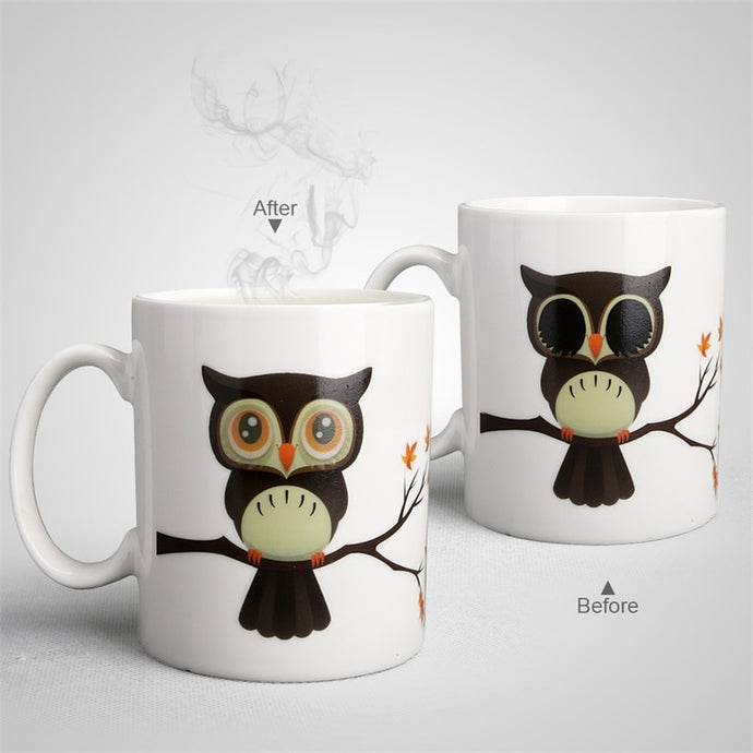 Ceramic Owl Magic Color Change Milk Coffee Tea Mug-mug-PureDesignTees