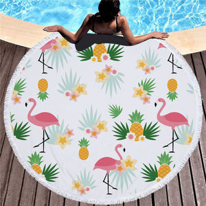 Big Round Microfiber Beach Towel With Tassels-Beach Towel-PureDesignTees