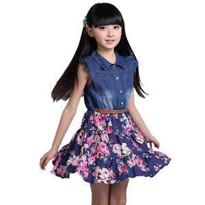 Summer Girl's Cotton and Denim Floral Dress-dress-PureDesignTees
