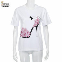 Load image into Gallery viewer, Women's Short Sleeve High Heels Printed Blouse-Blouse-PureDesignTees