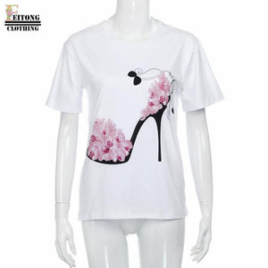 Women's Short Sleeve High Heels Printed Blouse-Blouse-PureDesignTees