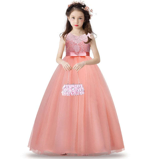 High-End Tulle Lace Long Sleeve Pageant Flower Girl Dress-Formal Girl's Dress-PureDesignTees