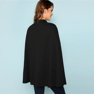 Black Highstreet Office Lady Double Button Mock Poncho-Poncho-PureDesignTees