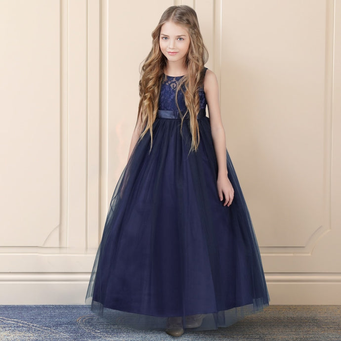 Princess Lace Flower Girl Dress-Formal Dress-PureDesignTees