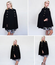 Load image into Gallery viewer, Black Highstreet Office Lady Double Button Mock Poncho-Poncho-PureDesignTees