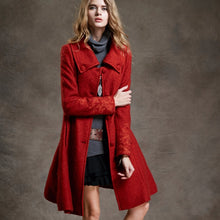 Load image into Gallery viewer, Women's Vintage Long Wool Coat with Embroidered Sleeves-coat-PureDesignTees