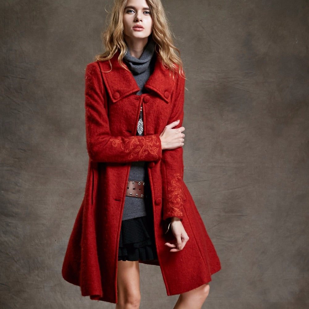 Women's Vintage Long Wool Coat with Embroidered Sleeves-coat-PureDesignTees