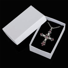 Load image into Gallery viewer, Fashion Purple and Pink Crystal Cross Pendant Necklace for Teens and Women-Necklace-PureDesignTees