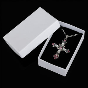 Fashion Purple and Pink Crystal Cross Pendant Necklace for Teens and Women-Necklace-PureDesignTees