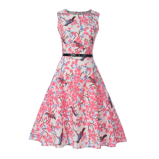 Floral Print Sleeveless Teenagers Dress