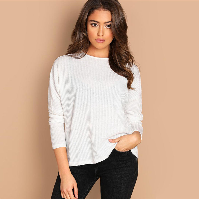 White Solid Rib-Knit Stretchy Casual Blouse-Blouse-PureDesignTees