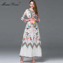 Load image into Gallery viewer, Fashion Designer Spring Women's Long sleeve Embroidery Mesh Dress-dress-PureDesignTees