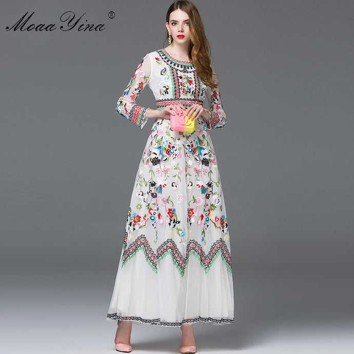 Fashion Designer Spring Women's Long sleeve Embroidery Mesh Dress-dress-PureDesignTees