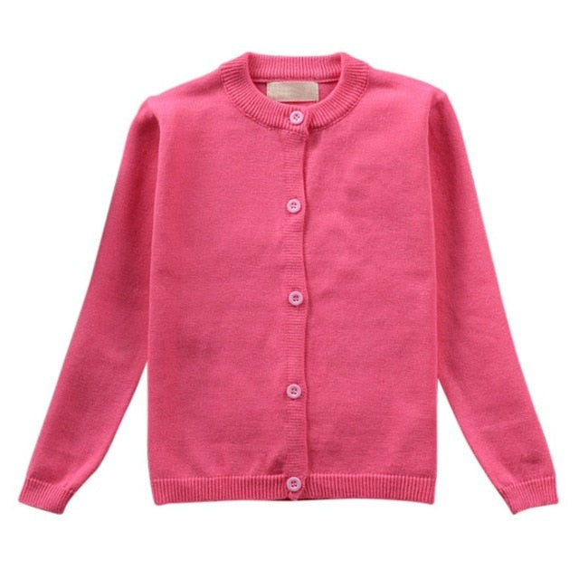 Little Girl's Long Sleeve Knitted Cardigan Sweater-Cardigan-PureDesignTees