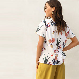 Floral And Plants Print Women's Blouse-Blouse-PureDesignTees
