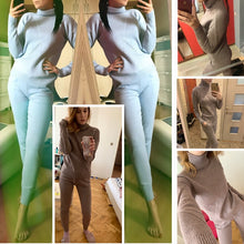 Load image into Gallery viewer, 2 Piece Set Knitted Tracksuit with Turtleneck-tracksuit-PureDesignTees