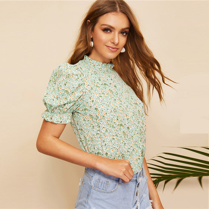 Boho Green Ditsy Floral Frill Neck Puff Sleeve Top with Keyhole Back Blouse-Blouse-PureDesignTees