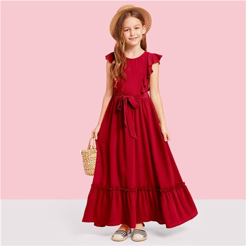 Burgundy or Green Ruffle Hem Girl's Party Maxi Dress-Girl's Dress-PureDesignTees