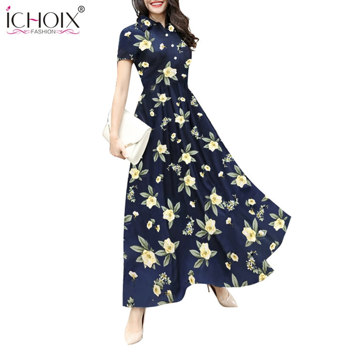 Summer Women's Long Fashion Casual Chiffon Flower Print Maxi Dress-dress-PureDesignTees