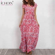 Load image into Gallery viewer, Summer Women's Long Fashion Casual Chiffon Flower Print Maxi Dress-dress-PureDesignTees