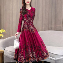 Load image into Gallery viewer, Fashion V Collar Flower Printed Long Sleeve Dress-dress-PureDesignTees
