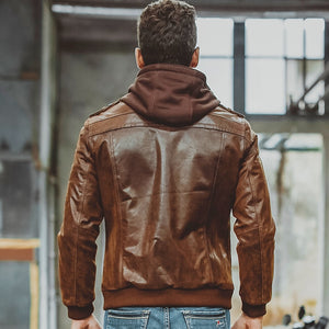 Men's Real Leather Motorcycle Jacket with Removable Hood-Men's Leather Jacket-PureDesignTees